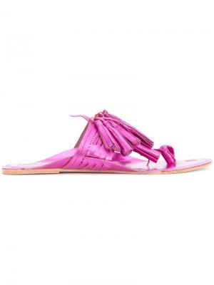 Сандалии с бахромой Figue. Цвет: розовый и фиолетовый
