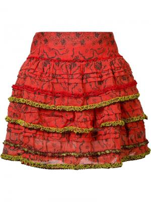 Мини-юбка Bibi Poupette St Barth. Цвет: красный