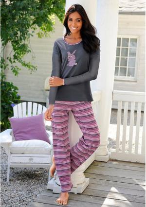 Пижама, 3 части VIVANCE. Цвет: темно-серый в полоску
