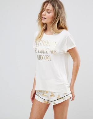 Chelsea Peers Пижама из топа и шортов с принтом оленей металлик. Цвет: белый