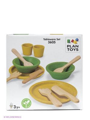 Набор деревянной посуды PLAN TOYS. Цвет: бежевый, зеленый