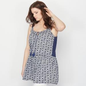 Блузка с рисунком TAILLISSIME. Цвет: сине-белый рисунок