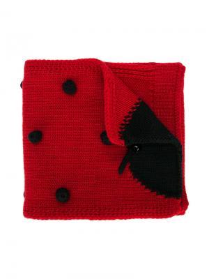 Вязаный шарф с божьей коровкой Dolce & Gabbana Kids. Цвет: красный