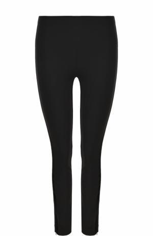 Однотонные брюки-скинни с бархатными лампасами Polo Ralph Lauren. Цвет: черный