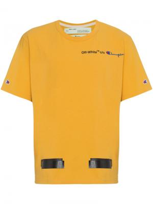 Футболка X Champion Off-White. Цвет: жёлтый и оранжевый