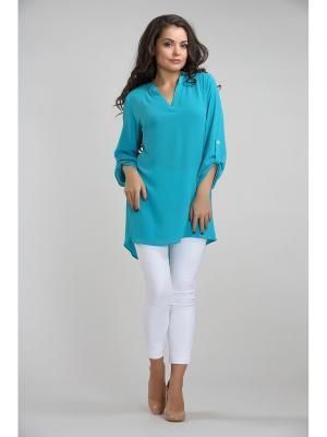 Блуза LIORA. Цвет: бирюзовый