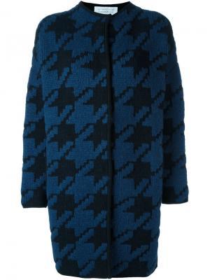 Пальто в ломаную клетку Gianluca Capannolo. Цвет: синий