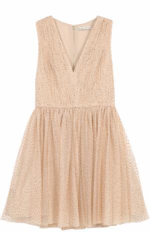Приталенное мини-платье с металлизированной отделкой Alice + Olivia. Цвет: золотой
