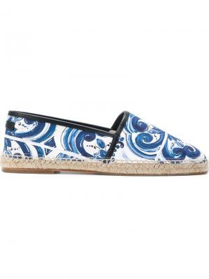 Эспадрильи с контрастной оторочкой Dolce & Gabbana. Цвет: синий