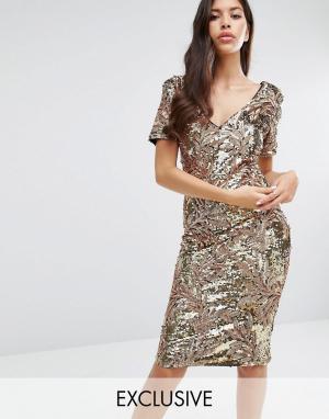 Club L Платье миди с короткими рукавами и пайетками. Цвет: золотой