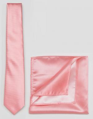 ASOS Галстук и платок для пиджака Wedding. Цвет: розовый