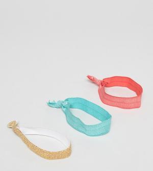ASOS Набор из 3 резинок для волос DESIGN. Цвет: мульти