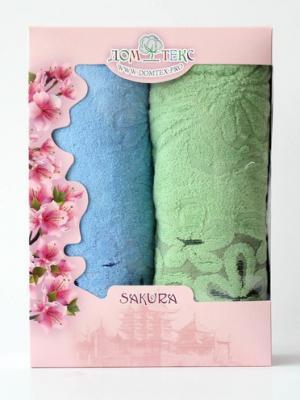 Набор махровых полотенец ромашки Домтекс. Цвет: зеленый, синий