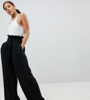 Missguided Tall Широкие брюки с присборенной талией. Цвет: черный