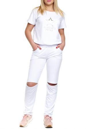 Костюм: джемпер, брюки Majaly. Цвет: белый