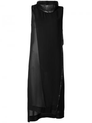Платье шифт с люверсами Demoo Parkchoonmoo. Цвет: чёрный