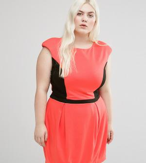 Koko Платье с контрастной вставкой Plus. Цвет: розовый