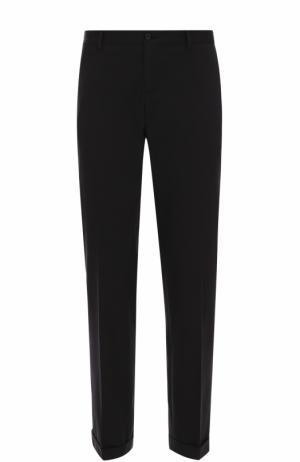 Хлопковые брюки прямого кроя Dolce & Gabbana. Цвет: черный