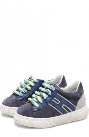 Замшевые кеды на шнуровке с молнией Hogan. Цвет: синий