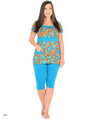 Домашний костюм ( блузка, бриджи) HomeLike. Цвет: бирюзовый, молочный