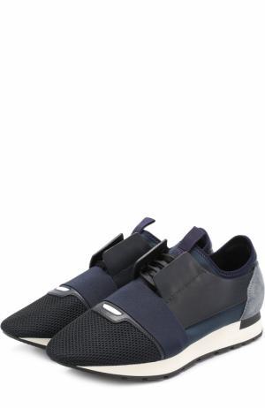 Комбинированные кроссовки Race на шнуровке с эластичной вставкой Balenciaga. Цвет: синий