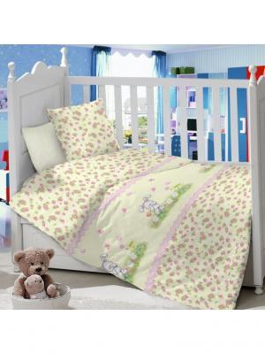 Комплект постельного белья в детскую кроватку из сатина (простыня на резинке) Ивбэби. Цвет: светло-зеленый, розовый, светло-желтый