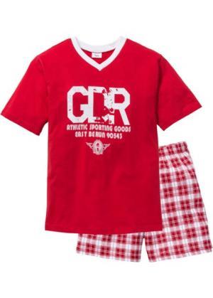 Пижама с  шортами (белый/красный) bonprix. Цвет: белый/красный