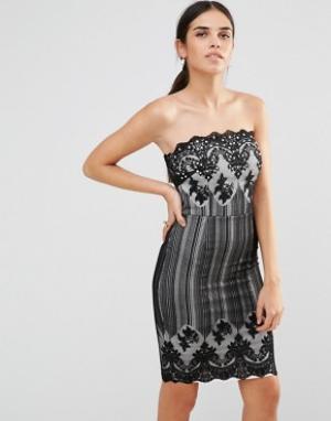 Laced In Love Кружевное платье-бандо. Цвет: черный