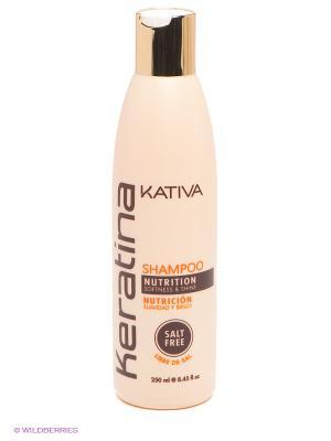 Укрепляющий шампунь с кератином Kativa для всех типов волоc KERATINA, 250 мл. Цвет: молочный
