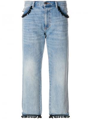Укороченные джинсы с помпонами Marc Jacobs. Цвет: синий