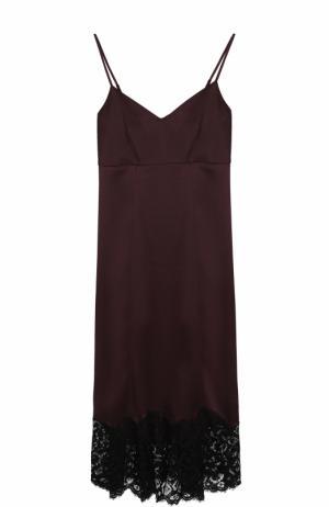 Приталенное платье-комбинация с кружевной отделкой Dorothee Schumacher. Цвет: темно-фиолетовый