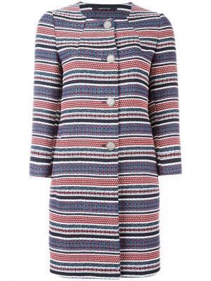 Полосатое пальто Tagliatore. Цвет: многоцветный