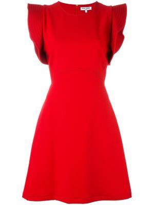Платье с оборками на рукавах Opening Ceremony. Цвет: красный