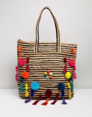 Raga Пляжная сумка с помпонами Beach Vibes. Цвет: мульти
