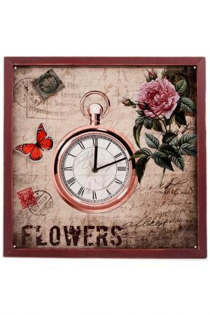Часы настенные 43x43x2 см Русские подарки. Цвет: коричневый, розовый, зеленый