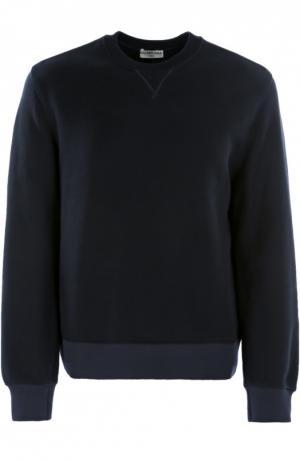 Хлопковый свитшот с контрастными манжетами Balenciaga. Цвет: темно-синий