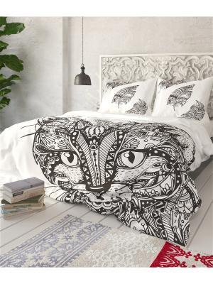 Комплект постельного белья Кошка, 1,5 - спальный Сирень. Цвет: белый, черный