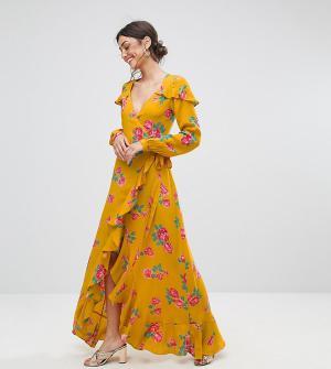 ASOS Tall Чайное платье макси с длинными рукавами, запахом и цветочным принтом A. Цвет: мульти