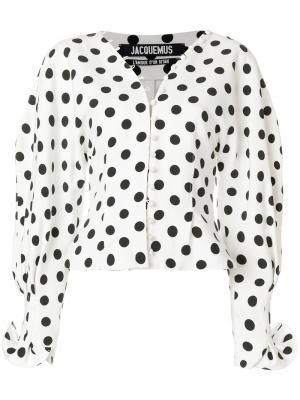 Блузка на пуговицах в горох Jacquemus. Цвет: белый