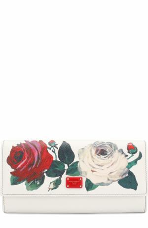 Кожаный кошелек с цветочным принтом и клапаном Dolce & Gabbana. Цвет: разноцветный
