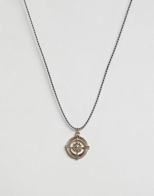 Icon Brand Ожерелье с подвеской-компасом. Цвет: черный
