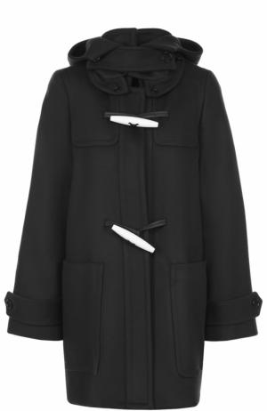 Шерстяное пальто свободного кроя с капюшоном Marni. Цвет: темно-синий