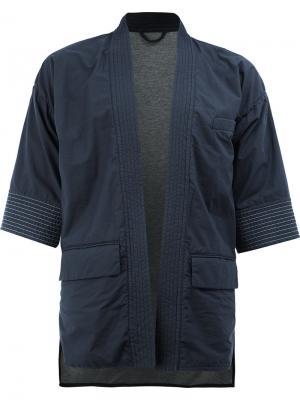 Куртка в стиле кимоно Wooster + Lardini. Цвет: синий