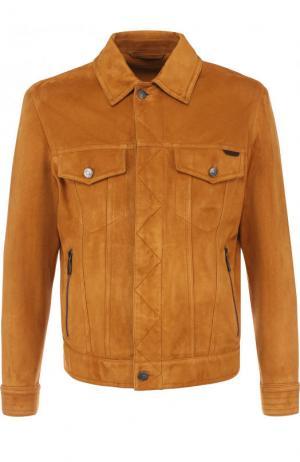 Замшевая куртка на молнии с отложным воротником Brioni PLQ60L/P7703