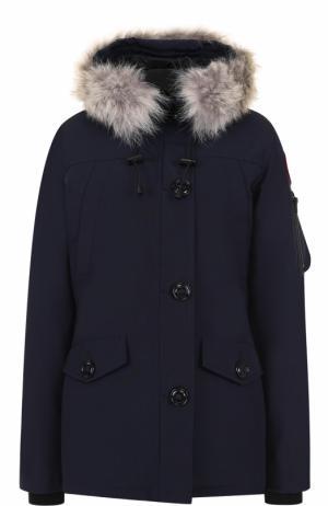 Утепленная куртка Montebello с капюшоном и меховой отделкой Canada Goose. Цвет: синий