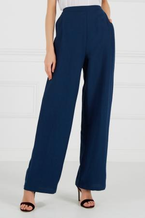 Синие брюки из хлопка и льна Cyrille Gassiline. Цвет: синий