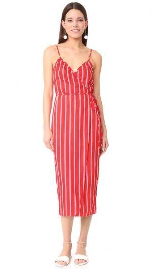 Платье-халат Sandalwood в стиле майки WAYF. Цвет: красный