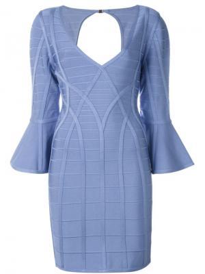 Платье с расклешенными рукавами Hervé Léger. Цвет: синий