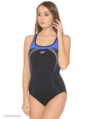 Слитные купальники Speedo. Цвет: черный, синий