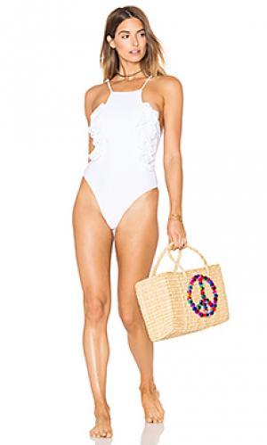 Слитный купальник whip cream lolli swim. Цвет: белый
